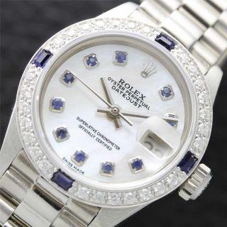 Ladies Rolex 18K WG SS DateJust White MOP Pearl Diamond Watch w