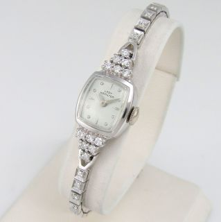 Vintage Lady Hamilton 14k White Gold Diamonds Wrist Watch 22J Cal 757