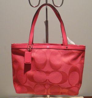 Coach NWT Kyra NY Top Handle Tote Purse 47557 Hibiscus Pink Signature