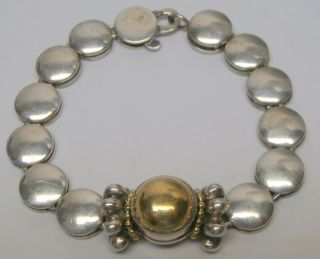 Lagos Caviar 18K Yellow Gold Sterling Silver Disk Bracelet Women N A