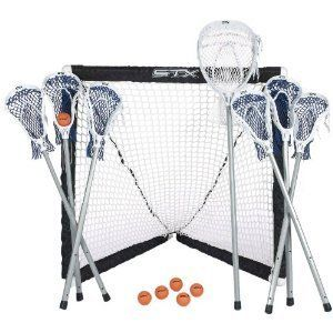 Player Lacrosse Game Set 6 Field Player Sticks 1 Goalie Stick w Goal
