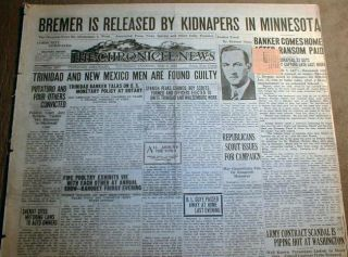 1934 newspapers EDWARD BREMER KIDNAPPING for RANSOM St Paul MINNESOTA