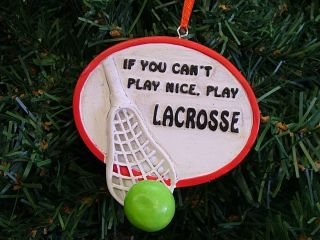 New Red Lacrosse Plaque Stick Ball Christmas Tree Ornament