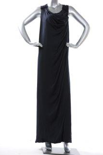 BCBG Max Azria Dark Navy Satin Draped Long Dress JUF6K316 $328 Sz 0