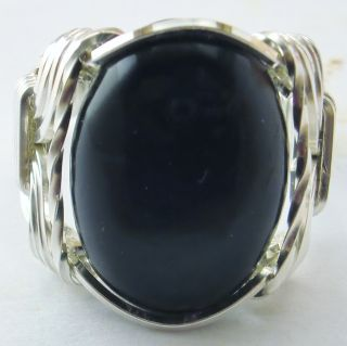 R942 Black Onyx Artisan Ring Sterling Silver Mens or Ladies