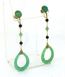 Vintage 10K Gold Hand Carved Jade Ladies Earrings