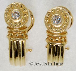 Earrings Ladies 18K Yellow Gold Diamond