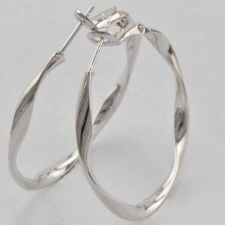 Twisted 9K White Gold Filled Ladies Hoop Earrings Dia 36mm M164
