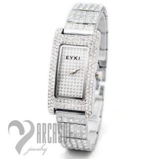 Womens Ladies Diamond Crystal Stainless Quartz Silver Bling Jewelry