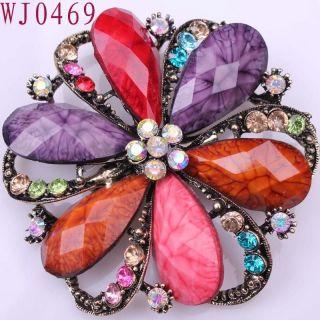 Flower Rainbow gemstone Alloy Elegant Ladies Pins Brooch WJ0469