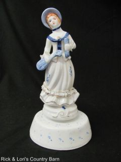 Vintage Ceramic Dancing Victorian Lady Music Box Figurine Musical Wind