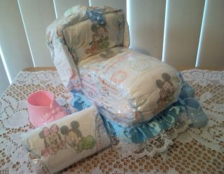 Mouse Bassinet Diaper Cake Baby Shower Gift Boy Girl Neutral