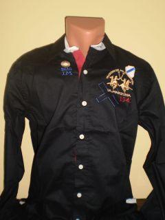 BNWT Bsas Argentina 100 La Martina Polo Mens Casual Shirt Black Size