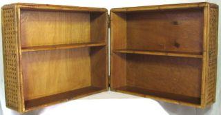 Vintage Large Folding Display Case Shelf Seat Cane Covered Wood