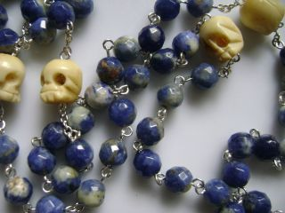 RARE Beautiful Natural Lapis Lazuli Bone Skulls Rosary Cross