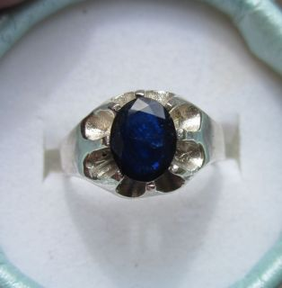 Mens Sapphire Fine Handsome Sterling Silver Solid Backed Ring