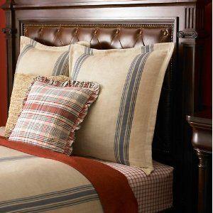 Lake House Herringbone Blue Tan Full Queen Duvet Comforter Cover