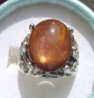 10ct Large Sunstone Sterling Silver Handsome Mens Ring
