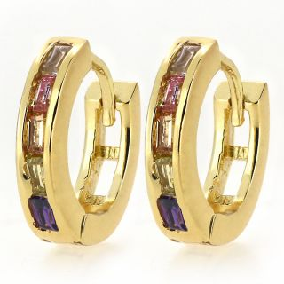 Ladies Girls Yellow Gold Filled Colorful crystal CZ Solid Huggies Hoop