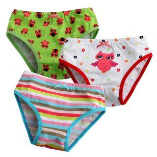 Girl 3 Pack of Underwear Briefs Pantie Set  Lalla Owl Set