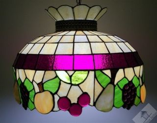 Slumped Fruits Slag Stained Glass Ceiling Fixture Lamp Shade
