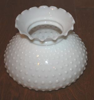 Vintage White Hobnail Milk Glass Ruffled Lamp Light Globe Shade
