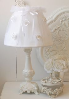 Shabby White Tulle Lamp Shade with Roses Cottage Chic