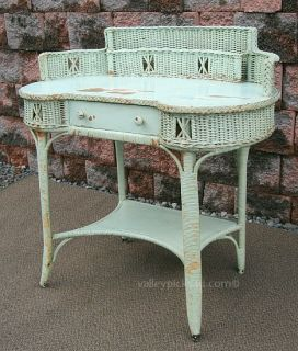 Vintage Country Lake Beach House CHIC Shabby Green Wicker Laptop Desk
