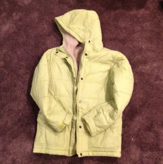 Lands End Weatherly Winter Coat Ski Jacket Parka Green Girls Hood Lg