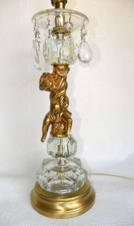 Vintage Gilt Cherub Crystal Table Lamp Shabby Cottage Chic Hollywood