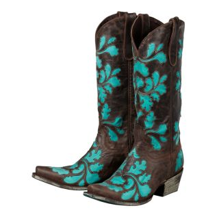 Lane Western Boots Womens Cowboy Damask Distressed Chocolate 53 A