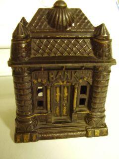 Vintage 1895 Cast Iron Bank J E Stevens M 1121 Bank Building RARE