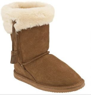 Lamo Youth Girls Australian Sheepskin Tassel Suede Boots Chestnut Size