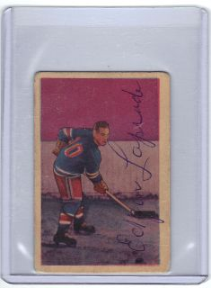 1952 Parkhurst Autographed Hockey Hall of Famer Edgar Laprade