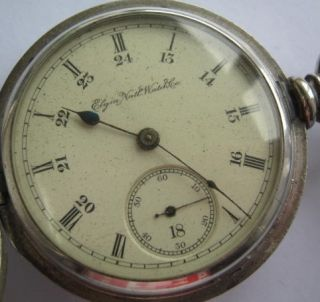 Large Heavy Silver Full Hunter Elgin Pocket Watch