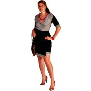 Lara Miller Wrap Black White Bamboo Sweater Dress XS