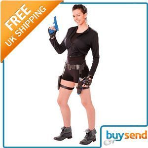 Ladies Womens Lara Croft Tomb Raider Treasure Huntress Fancy Dress