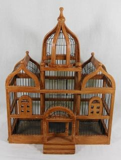 Large Victorian Style Wood Bird Cage Spindle Details
