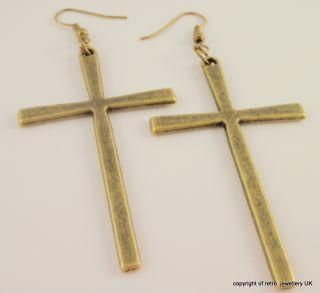Large Cross Earrings Bronze tone big boho religious jewellery Huge