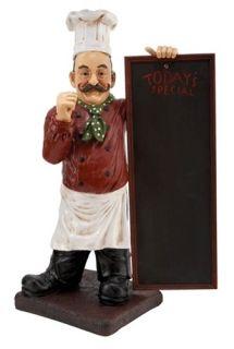Polystone Chef w Chalkboard Restaurant Decor Large Menu Figurine 36