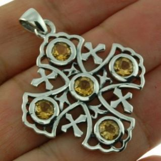 Large Jerusalem Cross Pendant w Genuine Citrine Stone 925 Sterling