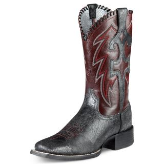 Ariat Womens Whip Lash Leather Cowboy Western Boots Punchy Black