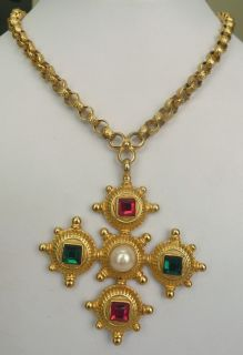 Large Vtg 1980s Ben Amun Faux Pearl Rhinestone Maltese Cross Pendant