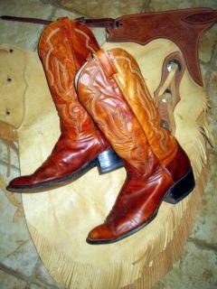 Larry Mahan Mens Brown Leather Cowboy Boots Size 10 5D