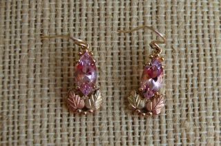 Black Hills Gold Pink Helenite Earrings