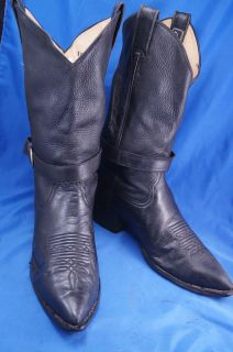 Larry Mahan Black Leather Western Boots Mens 9 5 D