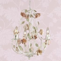 Laura Ashley Lighting Cream Chandelier with Pink Roses