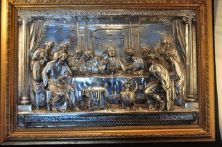 Antique Framed High Relief Last Supper Silver Over Copper – Signed