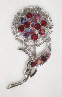 Large Vintage Red AB Rhinestone Astor Flower Brooch Pin