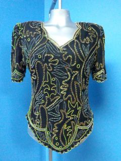 51276 Laurence Kazar Beaded Fitted Black Silk Evening Blouse Top Sz M